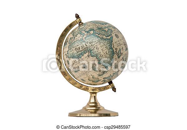 Old Style World Globe - Isolated on White - csp29485597