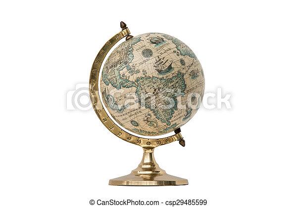 Old Style World Globe - Isolated on White - csp29485599