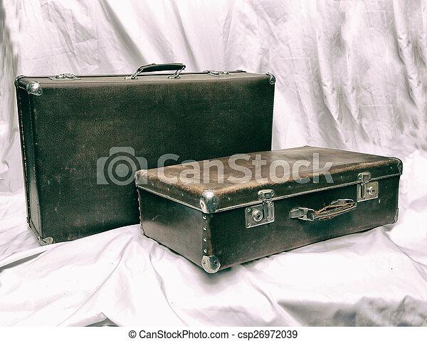 old suitcase brown old suitcase brown old style photo stock