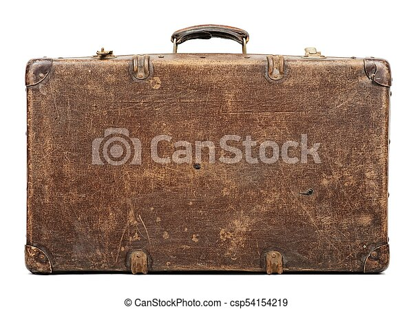 Old suitcase isolated on white background - csp54154219