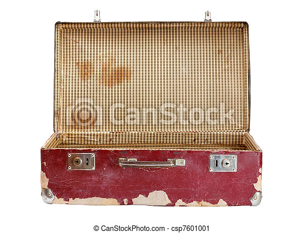 Old suitcase isolated on white background - csp7601001