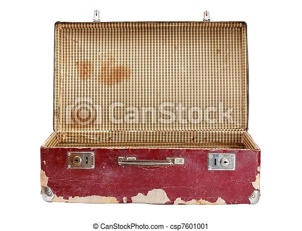 Old suitcase isolated on white background - csp7601001