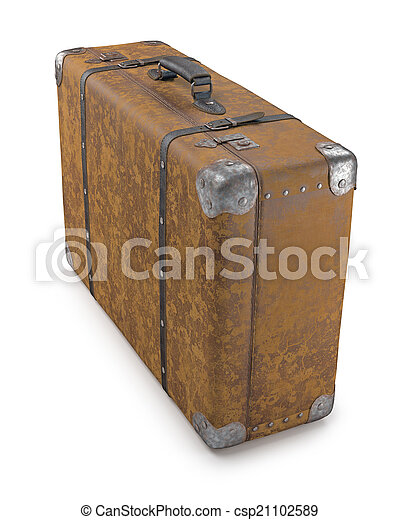 old suitcase over white old suitcase with wear on the surface of
