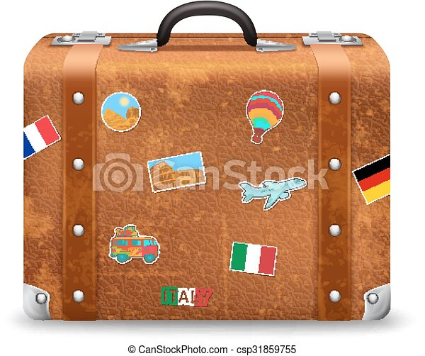 Old suitcase with travel stickers. Old style voyage ...