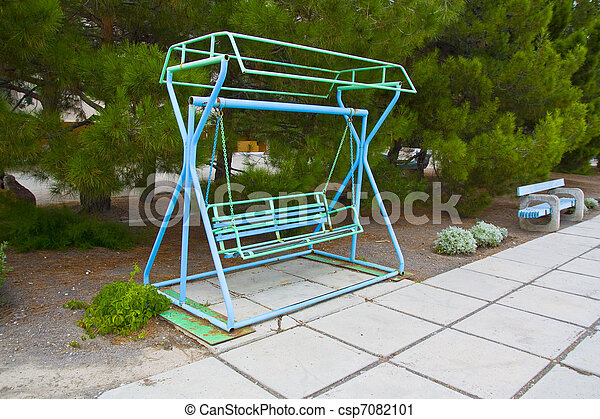 Old swing in a park. - csp7082101