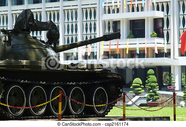 Old tank at the Reuinification Palace in Ho Chi Minh City - csp2161174