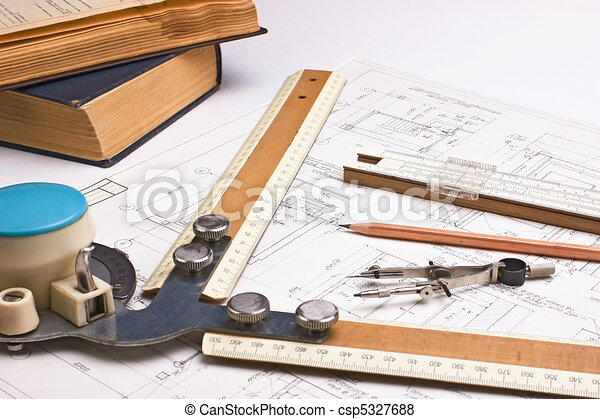 Old technical drawings. Old drawing apparatus and... stock ...