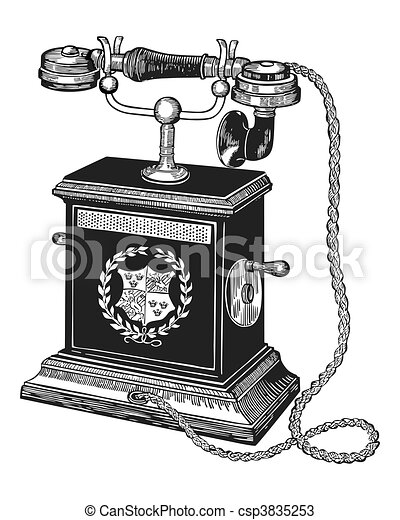 Old Telephone Illustration Of An Antique Isolated