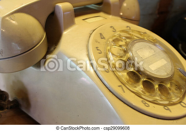 old telephone with rotary dial - csp29099608
