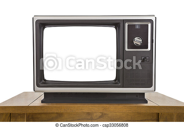 Old Television and with Cut Out Screen Isolated on White - csp33056808