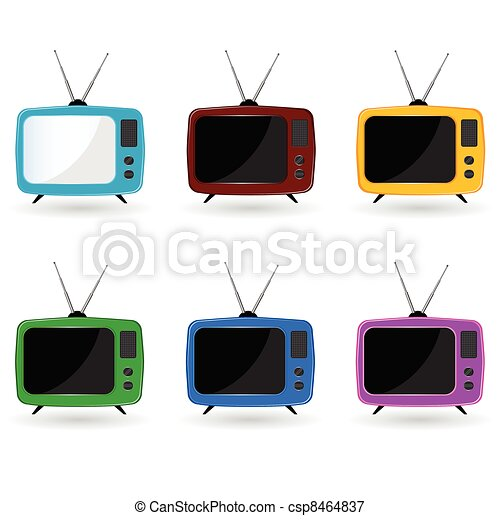 old television in six colors with antenna - csp8464837
