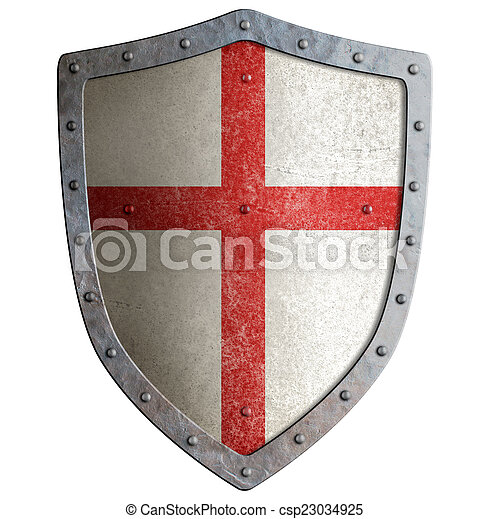 Old templar or crusader metal shield isolated - csp23034925