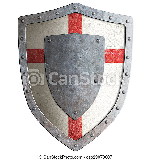 Old templar or crusader metal shield isolated - csp23070607