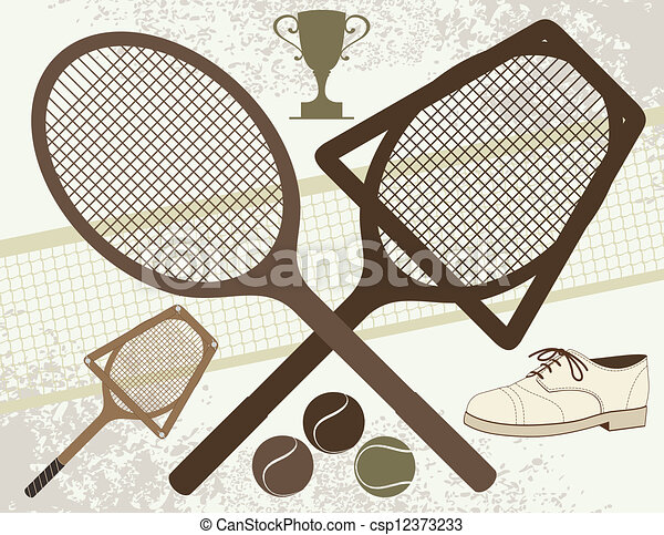 Old Tennis Elements - csp12373233