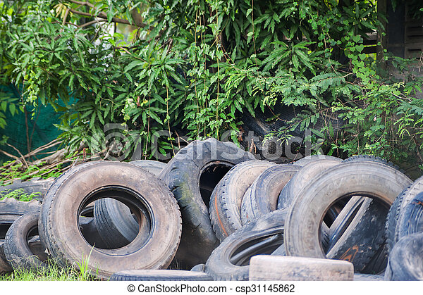 Old tires in soft light - csp31145862