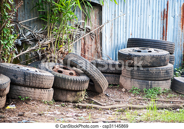 Old tires in soft light - csp31145869
