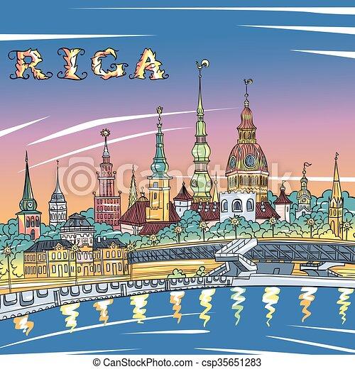 Old Town and River Daugava at night, Riga, Latvia - csp35651283