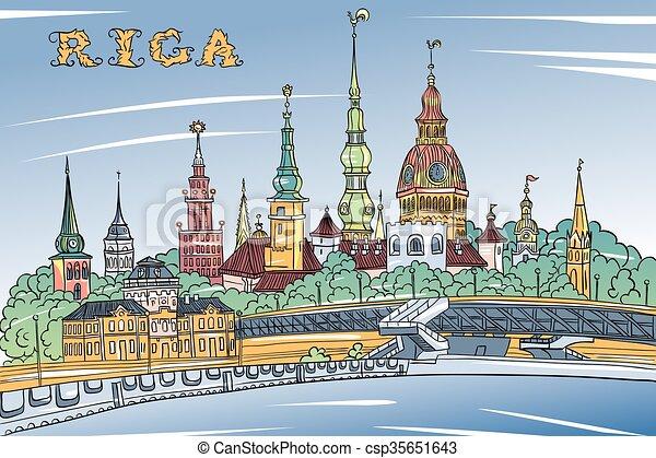 Old Town and River Daugava, Riga, Latvia - csp35651643