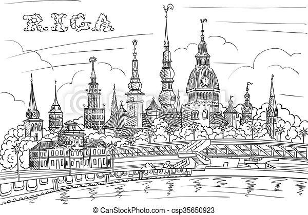 Old Town and River Daugava, Riga, Latvia - csp35650923
