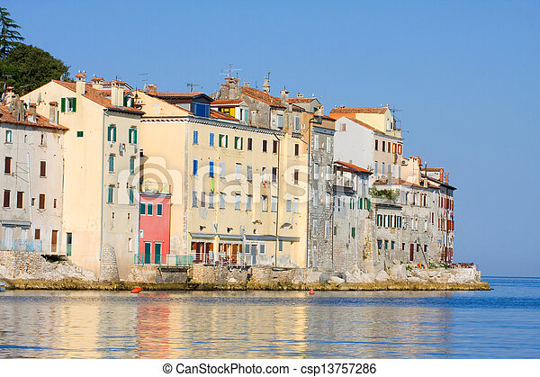 Old town architecture of Rovinj, Croatia. Istria touristic attraction  - csp13757286