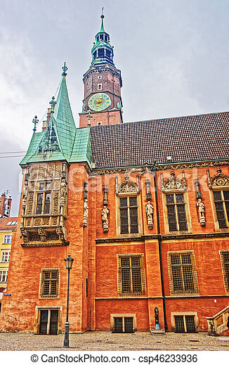 Old Town Hall in Market Square in Wroclaw - csp46233936