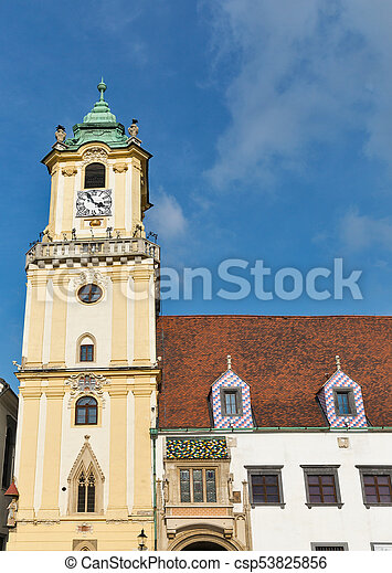 Old Town Hall on Main square in Bratislava, Slovakia. - csp53825856
