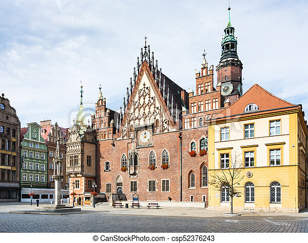 Old Town Hall on Market Square in Wroclaw city - csp52376243