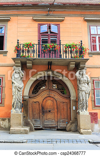 Old Town in the historical center of Sibiu, Romania - csp24368777
