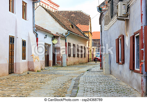 Old Town in the historical center of Sibiu, Romania - csp24368789