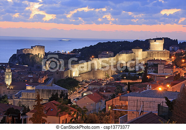 Old town of Dubrovnik at night, Croatia - csp13773377