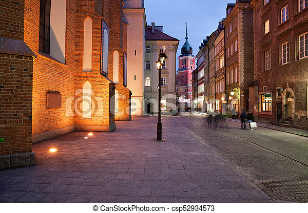 Old Town of Warsaw by Night in Poland - csp52934573