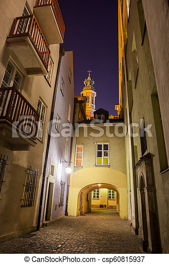 Old Town of Warsaw by Night in Poland - csp60815937
