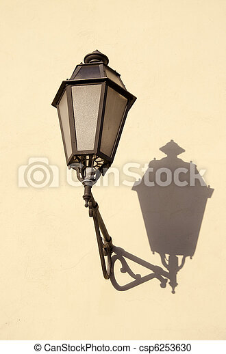 old town vintage lamp on wall - csp6253630