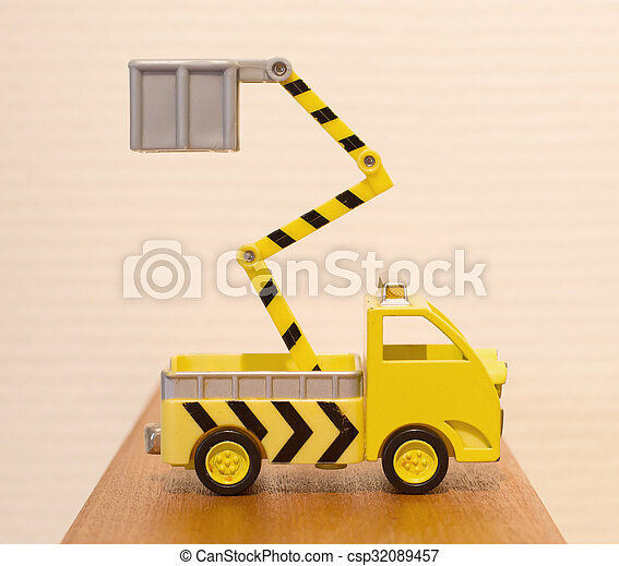 Old toy emergency truck isolated - csp32089457