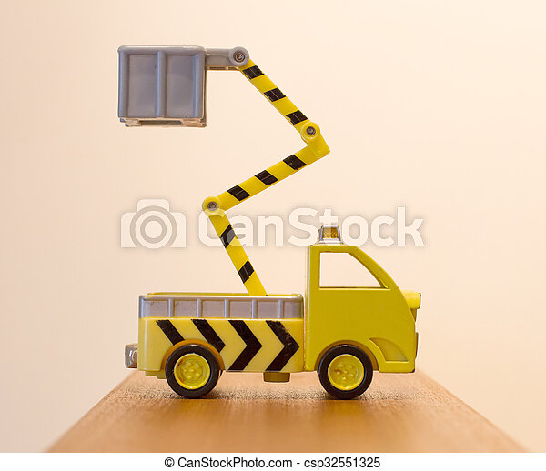 Old toy emergency truck isolated - csp32551325