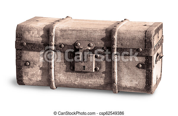 Old Treasure chest isolated on white - csp62549386