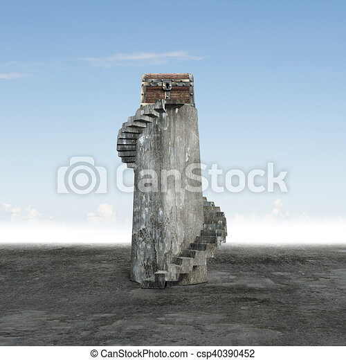 Old treasure chest on top of spiral staircase - csp40390452