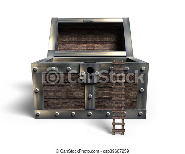 Old treasure chest open with wooden ladder, 3D rendering - csp39667259