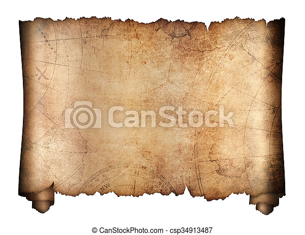 old treasure map roll isolated - csp34913487