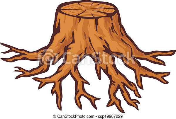 old tree stump with roots - csp19987229