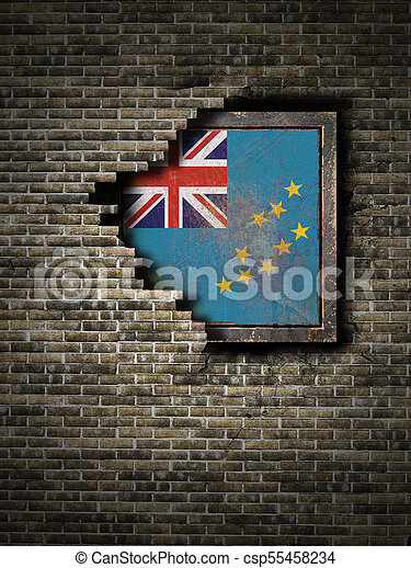 Old Tuvalu flag in brick wall - csp55458234