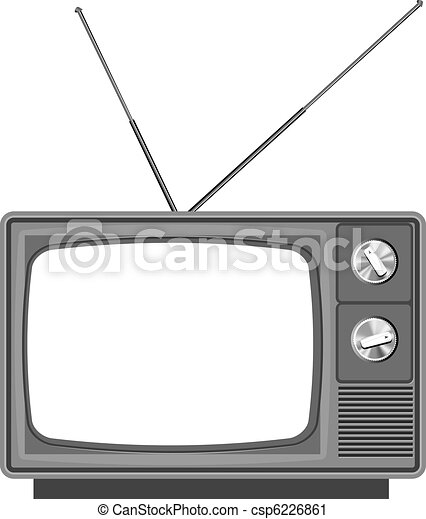 Old tv - television with blank screen - csp6226861