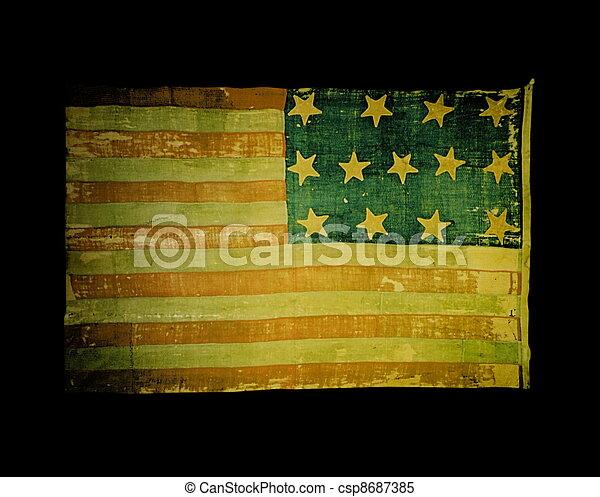 Old USA flag on black background - csp8687385
