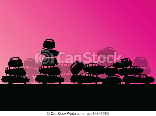 Old used automobile cars metal scrapyard graveyard landscape in industrial metal recyclable ecology concept vector background illustration - csp18398260