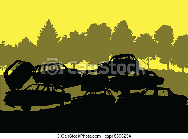 Old used automobile cars metal scrapyard graveyard landscape in industrial metal recyclable ecology concept vector background illustration - csp18398254