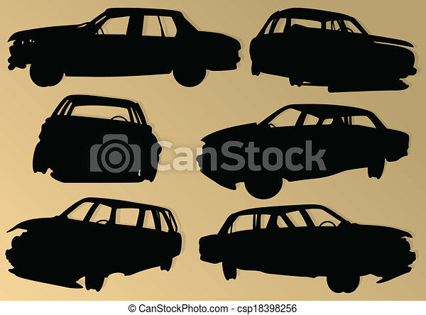 Old used automobile cars metal scrapyard graveyard landscape in industrial metal recyclable ecology concept vector background illustration - csp18398256