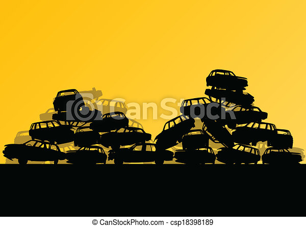 Old used automobile cars metal scrapyard graveyard landscape in industrial metal recyclable ecology concept vector background illustration - csp18398189
