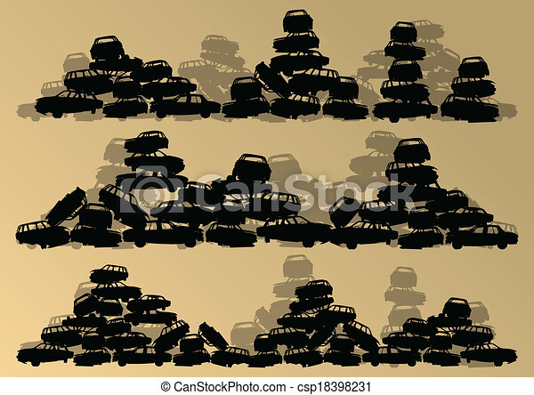 Old used automobile cars metal scrapyard graveyard landscape in industrial metal recyclable ecology concept vector background illustration - csp18398231