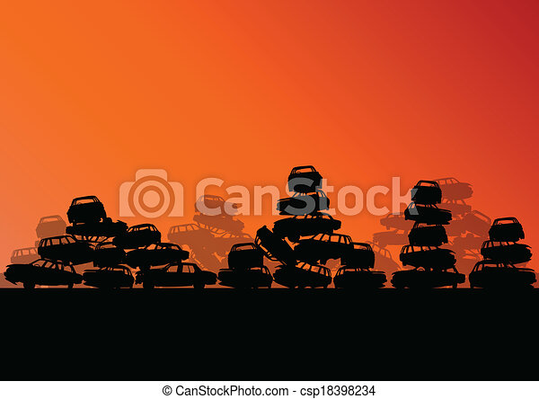 Old used automobile cars metal scrapyard graveyard landscape in industrial metal recyclable ecology concept vector background illustration - csp18398234