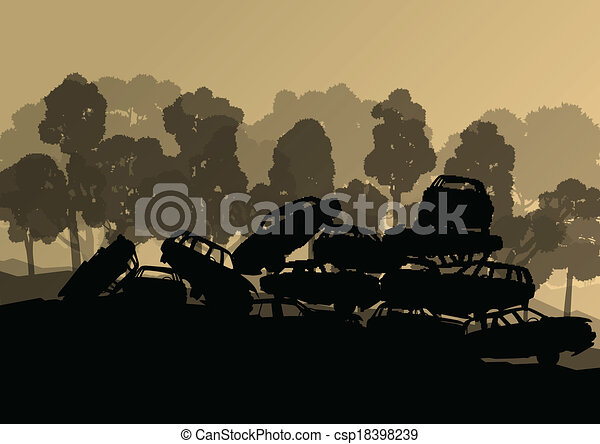 Old used automobile cars metal scrapyard graveyard landscape in industrial metal recyclable ecology concept vector background illustration - csp18398239
